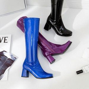 NEW women riding knee high boots winter autumn pointed toe fashion black blue purple shoes Casual Handmade high heel 5.5 cm shoe Sz6B#