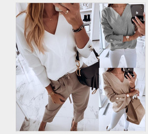 Autumn Winter Women Shirts Long Sleeve Tops Solid Color V Neck Tee Shirts Cotton Blend Leggings for Women