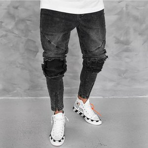 Straight Zipper Long Pants Fashion Stress Style Slip Male Clothing Mens Designer Panelled Casual Jeans Slim
