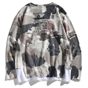 Fengchao brand men's camouflage long-sleeved T-shirt loose spring and autumn fake two-piece long-sleeved top for men NGRC2IHP