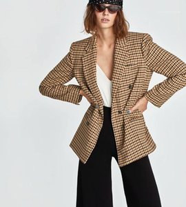 Women Clothing Dropshipping Women Plaid Suits Blazers Fashion Double Breasted Lapel Neck Long Sleeve Slim Coat New 20FW