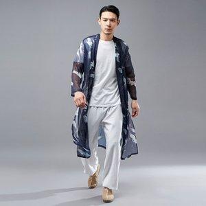 JGvt9 2020 Frühjahr neue Herren-ethnische Blue Coat Shirt Nationalität Nationalität Kran hängender Chiffon- Sonnenschirm Licht Anhänger dünne Schicht