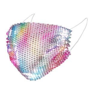 Sıcak Satış Moda Mesh Maskeler Renkli Bling Elmas Yapay elmas Izgara Net Yıkanabilir Kişiselleştirilmiş Night Market Seksi Hollow Maske Maske
