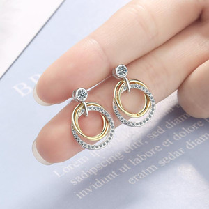 Double Circle Ring Round Gold Cubic Zirconia Stud Earrings For Women 2020 Fashion Ladies Jewelry Jewellery Wholesale Accessories