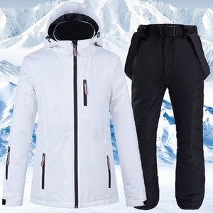 Ski Suit Men And Women Windproof Waterproof Ski Set Thickened Warm Couple Snowboarding Jacket Pants Two Piece Suit For Women