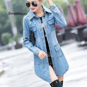 Куртка женская с длинным рукавом с карманом отворотом Denim Jacket однобортный 2020 Осень Новая мода Повседневный джинсы Coat 26Hy #