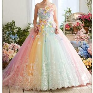 2020 nuovi abbastanza Colorful Rainbow Tutu Prom Dresses Flower 3D Pizzo Puffy palla camici Vestido Formatura Abiye Ruffles abiti di sera