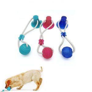 STOCK Pet Molar mordida Toy Dog multifunções Mordedura brinquedos de borracha Chew limpeza dos dentes Bola Seguro Elasticidade suave Dental Cuidados Ventosa