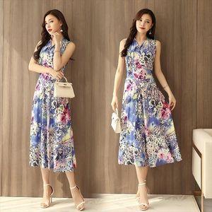 designer Women clothes Summer Printed Bohemian Beach Sundress Plus Size V neck Sleeveless Long Maxi Dress Casual Style Vestidos Mujer