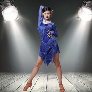 Latin Dress Women Dance Wear Ballroom tassel Dress Samba Costume Party Dresses for Black Blue Red colour