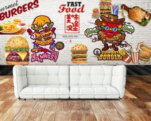 Hızlı Duvar Fried Chicken Restaurant Mural Yemek Ücretsiz Kargo Özel 3D Restoran Shop Fotoğraf Duvar kağıdı Hamburger