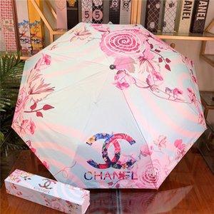 Fashion Classic Regenschirm für Frauen Falten Regenschirm Sonnenschirm Falten Regen-Gang-windundurchlässiger UV uv Sun Brocken mit Geschenk-Box GHTERHRHY