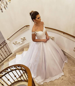 Off Shoulder Lace Wedding Dresses 2021 with Beaded Appliques Court Train Satin Plus Size Wedding Bridal Gowns vestidos de novia