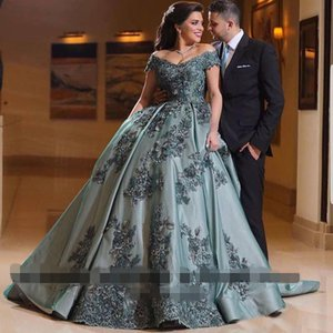 2020 Ball Gown Arabic Dubai Modest Prom Dresses deep v neck backless Vintage Off Shoulder Appliques Lace Long Evening Gowns Vestido Party