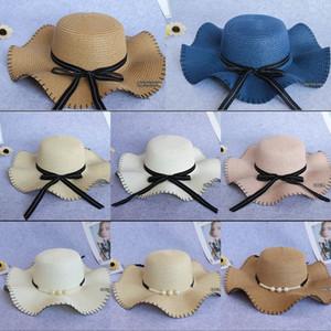 Toque şerit kenar Kadın vizör döşenme (da güneş Straw güneş şapkası yan dalga kap Koreli dış turizm alanı paragraf hasır şapka
