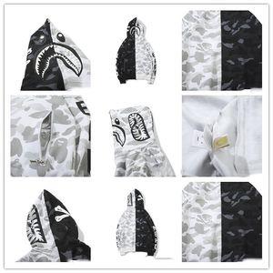 a bathing ape Badeaffen Günstige New Hoodie Männer A Bathing Ape AAPE Shark Kapuzen-Mantel-Camo Full Zip Jacke Camouflage Pullover Hot Cardigan 03
