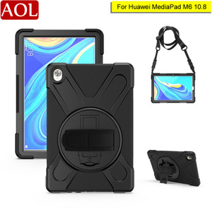 For Huawei Mediapad M6 10.8 360 Rotating Heavy Duty Armor with Hand or Shoulder Strap Case Kids Hybrid Shockproof Stand Cover