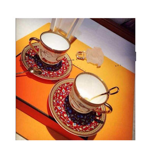 pack of 2 sets Ceramic cup and saucers coffee drinkware with spoon