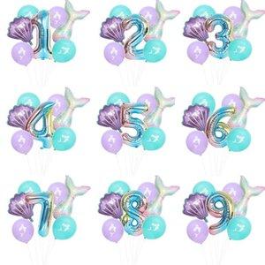 7 ПК / Mermaid Birthday Party Balloon Номер Balloon Decor 0-9 Алюминиевая фольга Birthday Party Balloon Supplies DHC989
