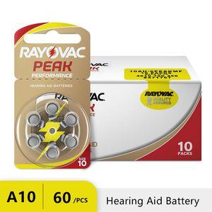 60 PCS RAYOVAC PEAK عالية الأداء بطاريات السمع. الزنك الهواء 10 / A10 / PR70 بطارية لBTE السمع. الشحن مجانا! LJ200831