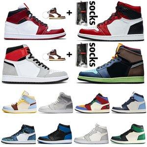 Nike Air Jordan 1 1s off white Jordan Retro 1 travis scott Hommes Jumpman chaussures de basket-ball de haute Bio Hack Pin vert Obsidian hommes femmes Sneakers