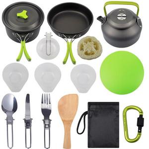 15 PCS / Set Cookware que acampa Kit de aluminio al aire libre Cocinar Conjunto caldera del agua del Pan Pot Viajar Senderismo picnic barbacoa Vajilla Con Cuchara plegable
