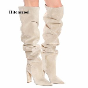 Boots 2021 Women Faux Suede Over The Knee High Slouchy Pointy Toe Chunky Heel Slouch Long Ladies Winter Heeled Shoes