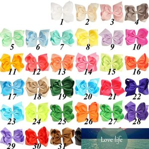 32 Colors 6 inch Plain Colored Grosgrain Ribbon Boutique Hair Bows with Alligator Clips 32PCS lot TO850