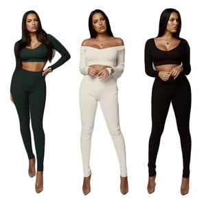 High Elastic Womens Knit Tracksuits Fashion Sexy Autumn 2 Piece Sets Long Sleeve Topa and Slim Women Sweatpants dropshipping