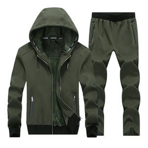 YDTMOM 2020 Fashion Hommes Hommes Sporting Suit Sweats Hoodies Veste + Pant épais SweatSuit Deux pièces Set Suitesuit pour hommes Vêtements