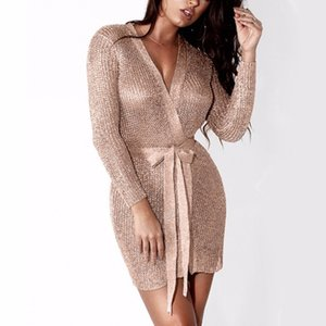 Women Sexy Dress Knitted Sweater Dress Silver Gold Club Party Bodycon Dress Deep V-neck Long Sleeve Cardigan Robe with Belt 200925
