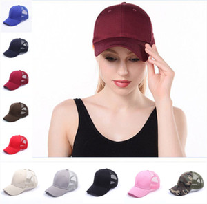 Designer Plain Solid Ponytail Baseball Cap Messy Buns hat Trucker Pony caps unisex Visor Cap Dad Hat mesh summer outdoor Snapbacks DHL Free