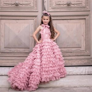 2020 New Coming Ruffles Tiered Tulle Flower Girl Dress For Special Occasion Sweep Train Custom Made Kids Pageant Gowns Vestidos 0922