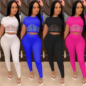 Kadınlar Eşofman İki adet Seti Yeni Moda Seksi İnce Dikiş Mesh Perspektif Kısa Kollu Bayanlar Sportwear Kıyafetleri Uzun Pantolon Tops