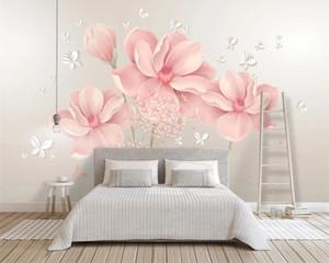 Living 3d Wallpaper Flower Wallpaper Simple European Style Small Fresh 3d Pink Flower Romantic Decorative Silk 3d Mural Wallpaper