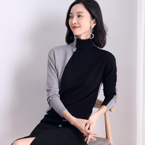 Knitted Pullovers Women Sweaters 2019 New Elegant Turtleneck Chic Pullover Contrast Color Knitted Sweater Pull Femme Female Top