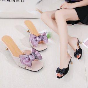 Orta topuk sandalet Sandalet ve Terlik kadın yazlık açık moda yeni Ouya yay ince topuk balık ağzı terlik