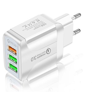 USB Wall Charger QC 3.0 Quick Charge 3 ports US EU UK Plug Fast Charging 5.1A Cellphone Adaptor
