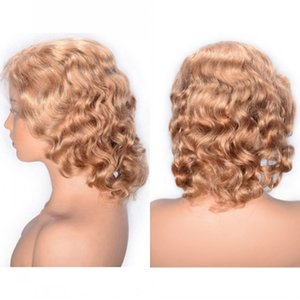 Short Human Hair Full Lace Wigs Pre Plucked Hairline Indian Remy Hair Curly Wigs for Women Free Part Wig