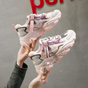 Le donne del nuovo di modo luminosi dei pattini della piattaforma Lace Up Shoes Casual donna Bling Designers Mesh tennis femminile Walking Trainer Chunky Sneaker