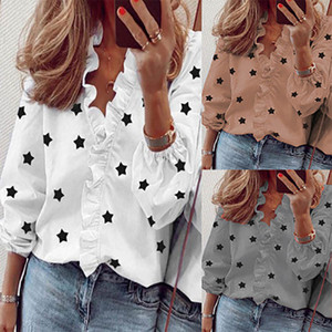 2020 New Europe and America Style Womens Long-sleeved V-neck Blouses Ladies Ruffle Stars Printing Shirts 5 Colors Size S-3XL
