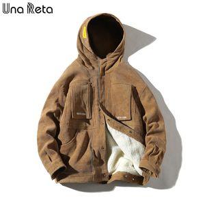 Una Reta Winter Jacket Men New Casual Loose Lambswool Parka Coat With Hooded Hip Hop Men Clothes Harajuku Warm Jackets For