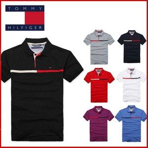 2020 Affaires nouvelles Hommes Polos Designer Couleur unie cou à manches courtes revers en vrac Polos Vêtements décontractés Hommeshilfiger
