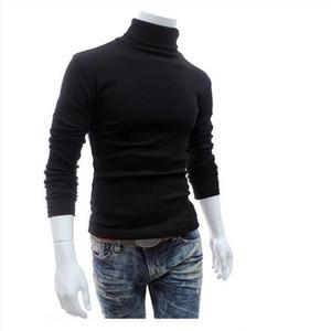 Neue Herbst-Winter-Herren Pullover Herren Pullover mit Stehkragen Solid Color Lässige Pullover Männer Slim Fit Marke gestrickte Pullover Herren-Bekleidung M-XXL