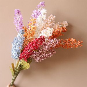 "10Pcs Fake Long Stem Hyacinth (2 stems piece) 37.4"" Simulation Autumn Violet for Wedding Home Decorative Artificial Flowers"