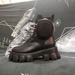 Rois الأحذية امرأة 2020 الشتاء نمط جديد demin القتالية أحذية جلدية نمط العسكرية انفصال النايلون الحقيبة محفظة الأحذية امرأة
