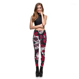 Print Mid Waist Womens Regular Pants Womens Sport Ankle Length Leggings Slim Fitness Casual Pants Fashion Floral