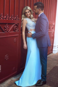 Blue Two Pieces Set Long Sweet Prom Dress O Neck Lace Tops Party Dress Custom Made