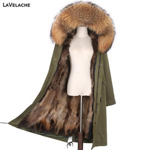LaVelache 실제 모피 겨울 코트 여성 X-롱 파카 7XL 리얼 모피 라이너 자연 너구리 칼라 후드 방수 재킷