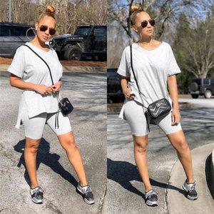 Casual solide Couleur Survêtement Styliste manches courtes Femme Vêtements lambrissé 2PCS T-shirt Shorts Costumes d'été